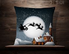 Santa Pillow Full Moon Santa Pillowcase by wfrancisdesign on Etsy Christmas Cushions, Christmas Pillow, Christmas Art, Christmas Decorations, Christmas Ornaments, Holiday Decor, Diy Pillows, Throw Pillows, Patchwork Pillow
