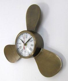 "Aluminum Antique Propeller Clock 12"" - Antique Wall Clock - Nautical Decor - Beach Bedroom Decoration - Decorative Wall Clock by Handcrafted Model Ships, http://www.amazon.com/dp/B00C8E90JS/ref=cm_sw_r_pi_dp_EUWJrb1101VKK"