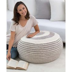 Red Heart® Stylish Pouf Beginner Crochet FREE Downloadable Pattern - Herrschners