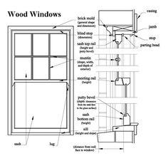 drawings of a wood window