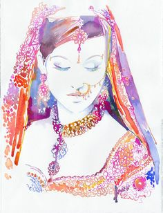 Watercolor Indian Bride