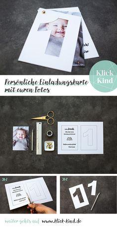 Einladungskarte zum Kindergeburtstag mit eigenem Foto vom Kind basteln