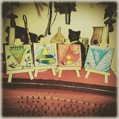 Our set of original mini canvase acrylic paintings by Pagan Hare of the four Elements. Perfect in ritual work or individual spells when working with an element!