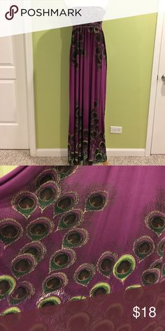 Forever 21 purple strapless maxi dress Forever 21 strapless maxi dress. 41 inches measured from natural waist. 92% polyester/8% spandex Forever 21 Dresses Maxi