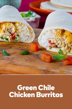 Green Chile Chicken Burritos is a tasty chicken meal wrapped in burritos. This healthy chicken burrito is less than 500 calories per serving. Tasty and healthy recipes healthy lunch at our site. Best Lunch Recipes, Healthy Recipes, Chicken Burritos, Food Staples, 500 Calories, Convenience Food, Healthy Chicken, Chile, Food Porn