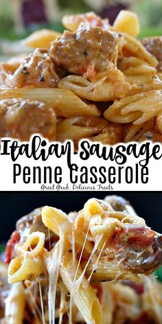 Italian Sausage Penne Casserole is a delicious casserole recipe loaded with penn. - Italian Sausage Penne Casserole is a delicious casserole recipe loaded with penne pasta, Italian sa - Easy Casserole Recipes, Easy Pasta Recipes, Casserole Dishes, Pork Recipes, Cooking Recipes, Healthy Recipes, Italian Pasta Recipes, Italian Meals, Pasta Casserole