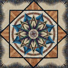 Mariner's Compass ~ Quiltworx.com by Certified Instructor, Sandy Lueth, and Certified shop, Quilter's Stash!  For more info about Certified shop, Quilter's Stash, click here:  http://www.quiltworx.com/certifiedshops/quilters-stash.