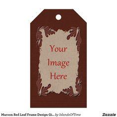 Maroon Red Leaf Frame Design Gift Tag