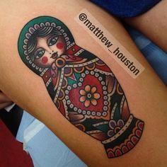 Russian doll #Russiandoll #nestingdoll #matryoshka #tattoo #traditional @salonserpenttattoo
