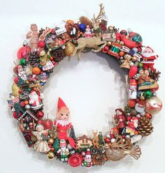 Christmas Wreath with Vintage Ornaments Kitsch by SweetLenasRetro