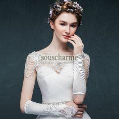 Mitaine mariage pas cher accessoire mariage gant femme en satin ivoire aux broderies et perles