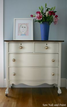 Antique white serpentine dresser 2