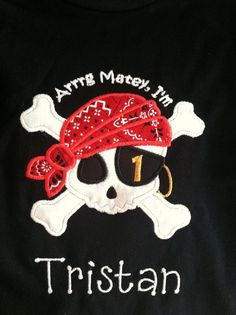 Personalized Pirate Party Shirt by TheTinyCloset on Etsy, $19.95