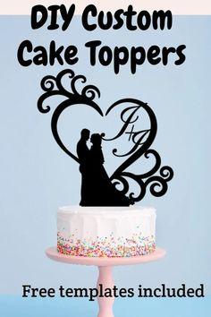 cricut cake topper tutorial, free svg templates Diy Wedding Cake Topper, Diy Cake Topper, Cake Topper Tutorial, Personalized Wedding Cake Toppers, Custom Cake Toppers, Wedding Cakes, Cricut Cake, Diy Home Crafts, Wedding Inspiration