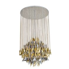 Large, circular nickel chandelier composed of suspended geometric mixed metal elements.