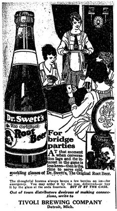 Dr. Swett's Root Beer Tivoli Brewing Company advert; The Detroit Free Press, May 15, 1920