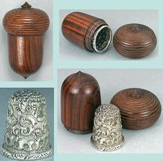 Antique Rosewood Thimble Keep - Acorn Style and a Sterling Silver Thimble. 1890).
