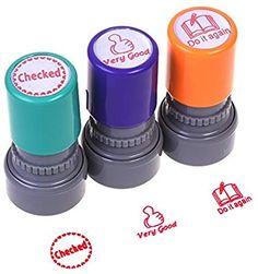 2x Teacher Self Inking Stamper Reward Stamps Praise Motivation Sticker School WH