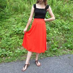 NWT BB Dakota Poppy Red Skirt Size 2 High Waist Long Calf Length Summer Hippie #BBDakota #HighWaist