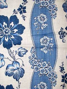Liberty Floral Porcelain - blue and white flora stripe fabric - Waverly's Colonial Williamsburg Collection - 55% linen 45% rayon - $16.46/yd