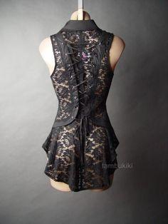Black Sheer Lace Corset Back Victorian Steampunk Goth EGL Top 13 MV Blouse s M L | eBay