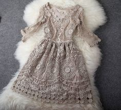 Light lace dress - french knitted laces, baroque theme, russia inspirations - ivory, beige, gold - coctail new year party christams ball