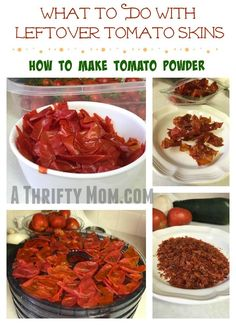 What To Do With Leftover Tomato Skins & How To Make Tomato Powder Keep Recipe, Recipe For Mom, Lunch Recipes, Easy Dinner Recipes, Easy Meals, Good Food, Yummy Food, Money Saving Meals, Dehydrated Food