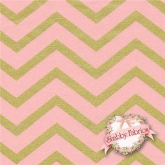 "Glitz 6321-BLUS Blush By Michael Miller Fabrics: Glitz is a modern collection by Michael Miller Fabrics. 100% cotton. 43/44"" wide. This fabric features a thick chevron in vivid pink and a slightly thinner chevron in metallic gold."