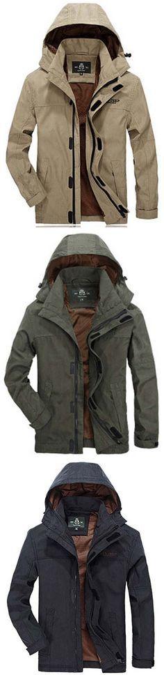 AFSJEEP Military Cotton Detachable Hat Solid Color Coat Jacket for Men