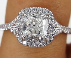 This is ring is just breathtaking and SUPER Fine and truly show stopper! This Exquisite Very Bright Square Cushion 1.02ct Center Diamond in H