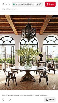 Alfredo Paredes and Brad Goldfarb's New York City Apartment : Interiors + Inspiration : Architectural Digest-AMAZING doors/windows. Architectural Digest, Casa Mix, Timber Ceiling, Ceiling Beams, Interior And Exterior, Interior Design, Interior Doors, French Interior, Modern Interior