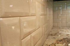 Backsplash...beveled subway tile with crackle glaze, like the pattern