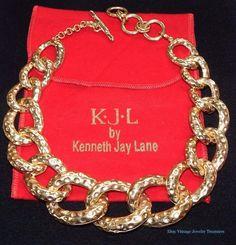 Vintage Runway KJL Kenneth Jay Lane Hammered Link Gold Tone Necklace