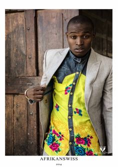 Afrikan print and denim blend shirt