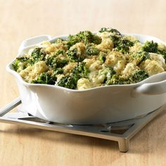 This creamy casserole can be made a day ahead, refrigerated and then baked just before dinner. Using frozen vegetables makes this dish a cinch.