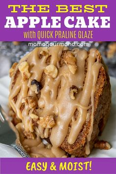 Easy, Fresh Apple Cake makes the best apple bundt cake recipe! An extremely moist spice cake has chunks of fresh apples and a quick praline glaze frosting. Apple Bundt Cake Recipes, Apple Desserts, Dessert Recipes, Apple Recipes, Apple Cakes, French Desserts, Cupcake Recipes, Delicious Desserts, Fresh Apple Cake