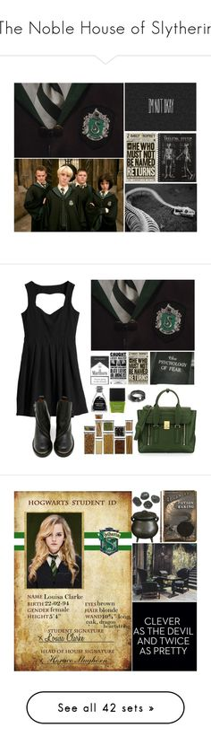 """The Noble House of Slytherin"" by leah1992 ❤ liked on Polyvore featuring art, slytherin, hogwarts, magic, Sixtyseven, Crate and Barrel, 3.1 Phillip Lim, Butter London, Noir Jewelry and Students"