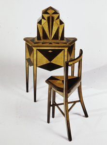 Telephone Stand / Abel Faidy / c. 1927 / Ebonized walnut and maple marquetry with mechanized doors