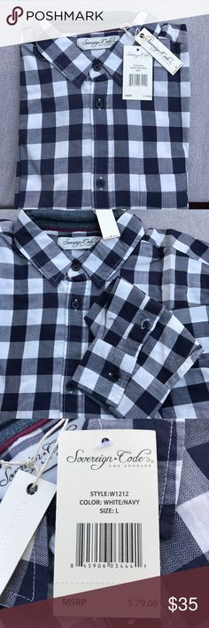 Men's dress shirt Brand new with tags sovereign code long sleeve dress shirt. Size large. Originally $79 Sovereign Code Shirts Casual Button Down Shirts