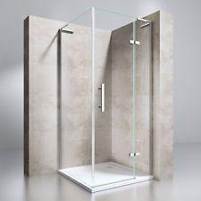 Duschkabine Duschabtrennung Eckdusche Duschwand Echtglas 90x90x195