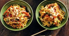 Stir-fries are a great way to get nutritious and low-fat meals on the table. This one is a colourful combination of chicken, noodles and assorted capsicums.