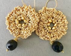 Big Gold Crochet Jewelry and Wire Wrapped Beaded by BohemiaJewelry