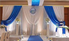 high long white and royal blue wedding stage party backdrop decoration drapes with ice silk Royal Blue Wedding Decorations, Wedding Centerpieces, Blue Centerpieces, Wedding Reception Backdrop, Wedding Backdrops, Wedding Church, Wedding Ceremony, Wedding Ideas, Pipe And Drape