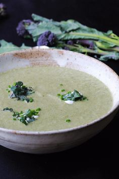 A sweet, earthy purple sprouting broccoli soup, with juicy pears and creamy mascarpone cheese Chilli Recipes, Pear Recipes, Healthy Gluten Free Recipes, Vegetarian Recipes, Good Food, Yummy Food, Recipe Please, Main Meals, Favorite Recipes