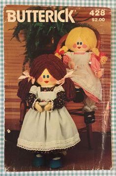 "Butterick 428 Sewing Pattern 23"" Plush Stuffed Doll Toy & Clothes Dress Uncut #Butterick"