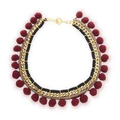 Pom Pom Necklace - Burgundy - Necklaces - Jewellery