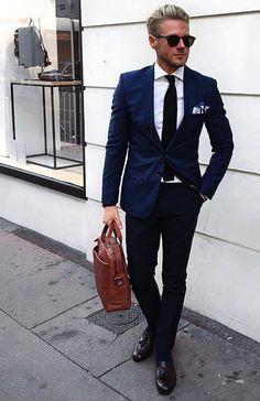 The Blue Suit Collection Mens Fashion Suits, Mens Suits, Men's Fashion, Fashion Tips, Navy Blue Suit, Blue Suits, Men's Tuxedo Styles, Dapper Gentleman, Classy Men