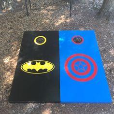 Batman Captian America Cornhole set with bean bags by BlakesCustomCornhole on Etsy