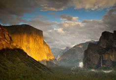 Yosemite Valley, California  This is one of the most beautiful places on earth. The panorama includes El Capitan, the world's largest monolith of exposed granite; the distinctive Half Dome granite formation; and Yosemite Falls, the tallest waterfall in North America, measuring 2,425 feet from top to bottom.