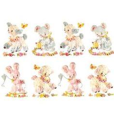 vintage animal decoupage stickers | ... -LAMB-BUNNY-BEAR-NURSERY-DECALS-vintage-CHIC-small-animal-transfers